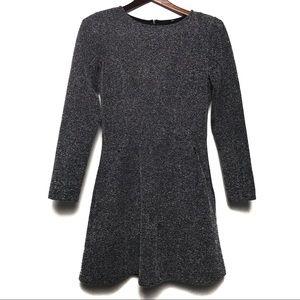H&M Gray Herringbone Skater Pocket Dress Size 6
